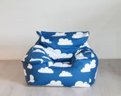 UNFILLED* beanbag chair in stylish Blue Clouds fabric for the nursery, playroom, living room