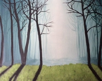 Acrylic Painting Foggy Forest  20''x 15''