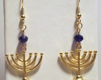 Golden Hanukkah Minora Earrings