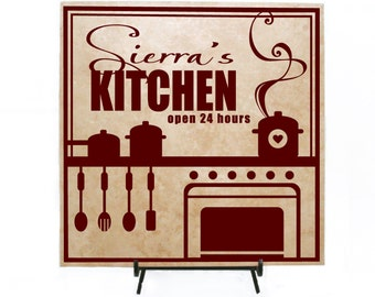 Personalized Kitchen Sign, Personalized Wood Sign, Personalized Tile, Custom  Tile, Custom Kitchen