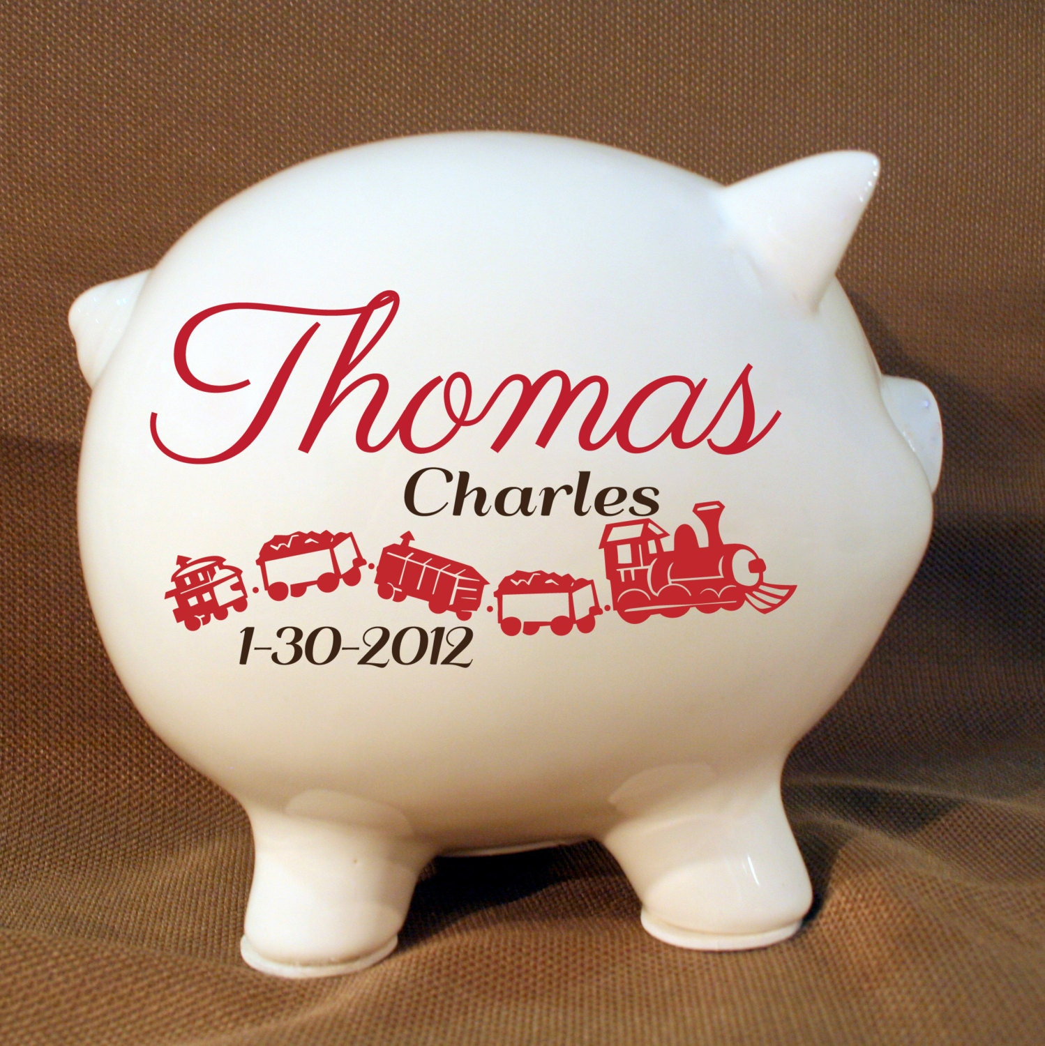 8 Extra Large Train Piggy Bank With Vinyl Decal