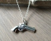 Sterling Silver Pistol Necklace, Colt Necklace, Hand Gun, Sterling Silver Gun
