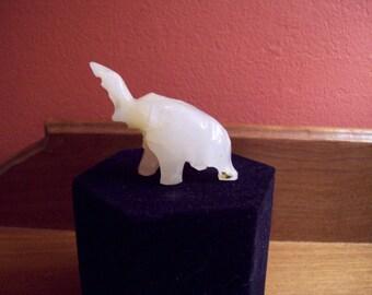 Vintage Miniature Hand Carved Alabaster Elephant Figurine
