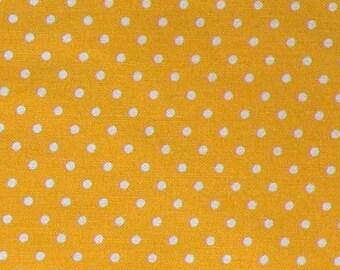 "Yellow - 100% Cotton Poplin Dress Fabric Material - 3mm Polka Dot / Spot - Metre/Half - 44"" (112cm) wide"