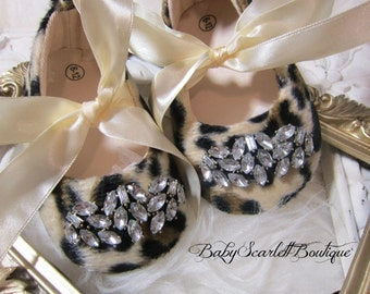 Vintage Rhinestone Leopard Print Baby Girl Shoes,Crib Shoes