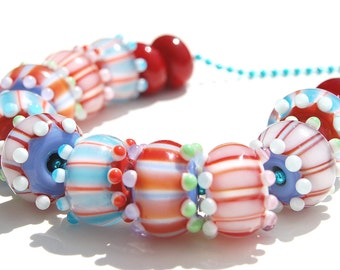 Handmade lampwork set - Pairs Color Block Striped Beads - Set of 14 - lampwork - handmade - colorful