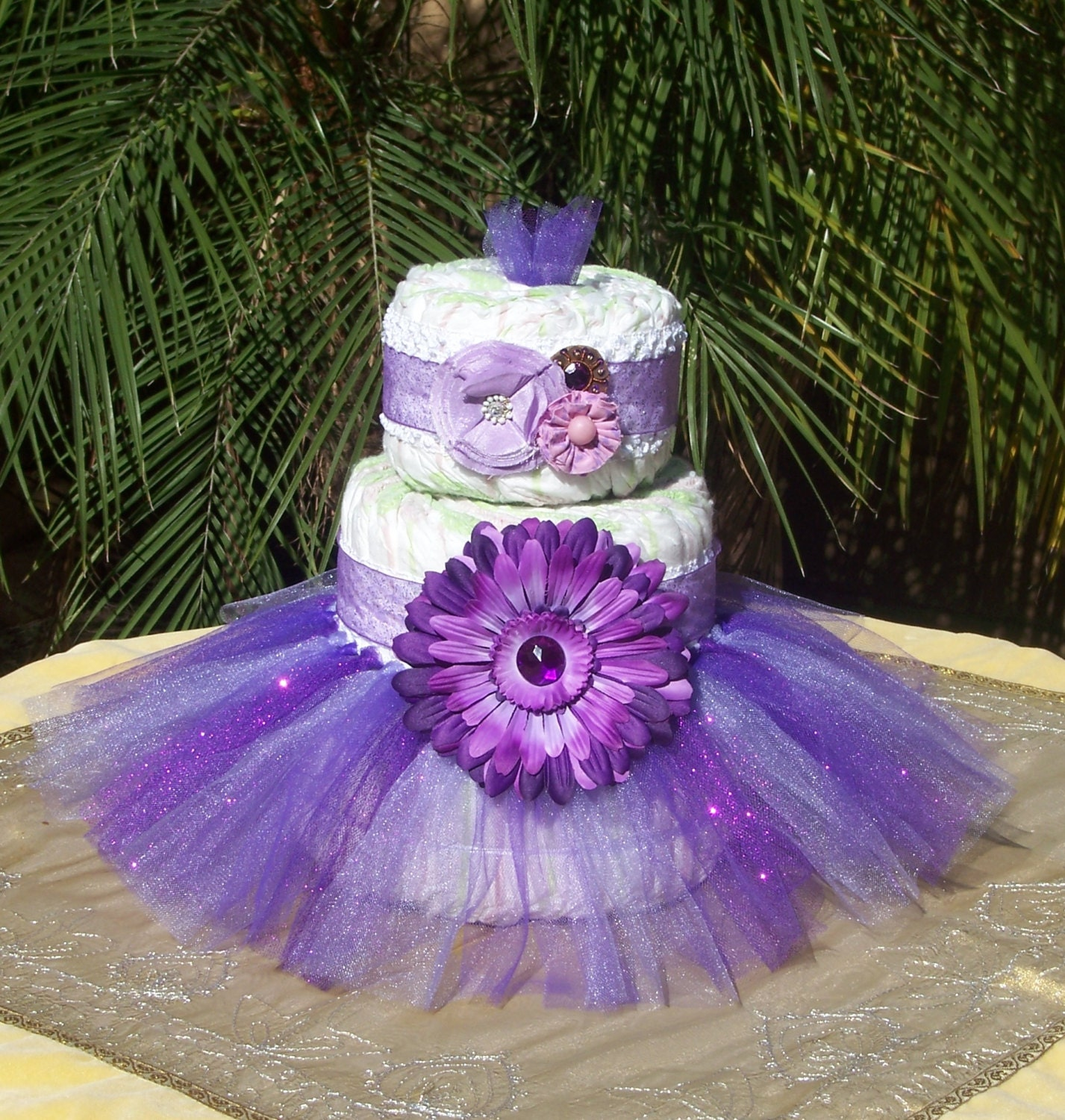Diaper Cake Decorating Kit : Tutu Diaper Cake Kit PURPLE GLITTER: Baby Shower Decoration