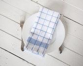 Linen cotton kitchen 2  tea towels -Cottage chic  White blue tartan dish towels - LinenHomeShop