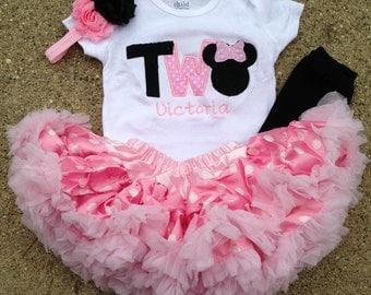 Pink and black minnie mouse birthday outfit - 2nd birthday shirt petti skirt and headband - custom birthday shirt