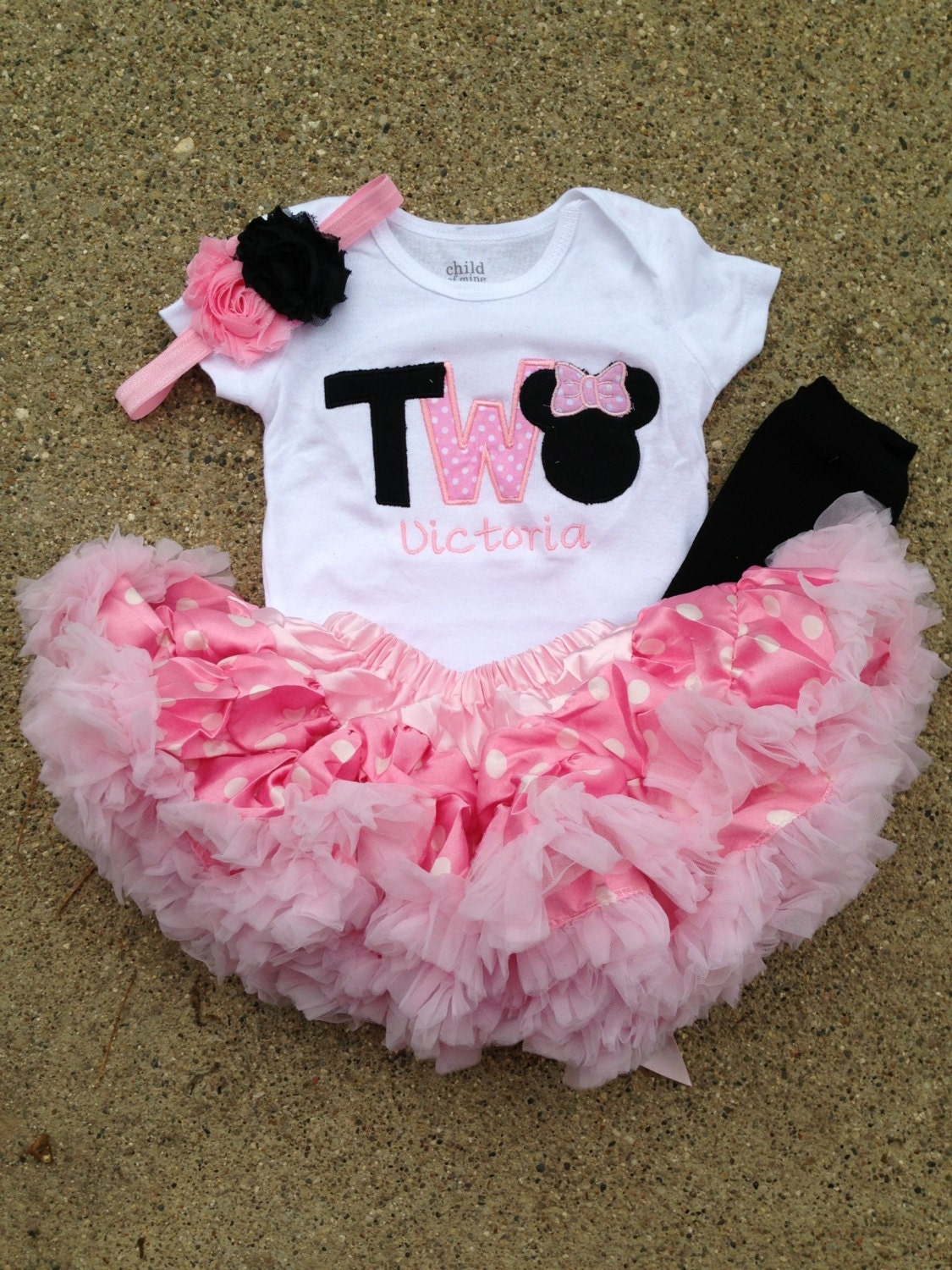 Pink and black minnie mouse birthday outfit 2nd birthday
