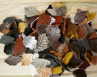 Assorted leather leaves, Jewelry supplies, Leather charms, Leaves charms, Assorted colors