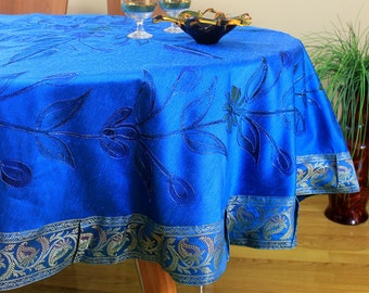 "Hand Painted Floral Round Tablecloth (Ocean Blue, 85"" Round)"