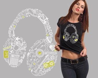 Headphones T-Shirt Music Fan Shirt Tshirt Ladies Tee Woman Top