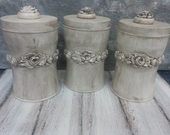Canister,Kitchen canister,Set of 3,Tin canister,Storage jar,Spice jar,Spice rack,Relievo ornamented,coffee canister,sugar and flour canister