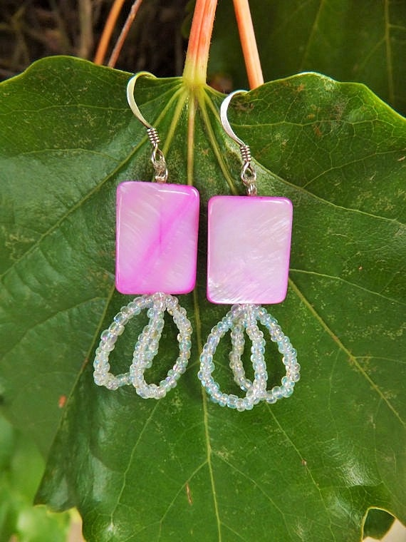 Pink Glass and Double Looped Earrings