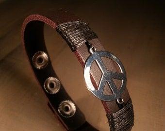 Men's leather bracelet dark brown peace leather bangle men's bracelet / jewelry bangle leather bracelet men / peace bracelet