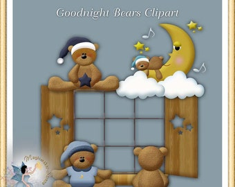 Baby Teddy Bears Clipart, Commercial Use, Digital Scrapbook