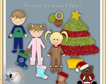 Waiting for Santa, Christmas Clipart