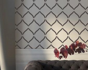 Wallpaper Stencil Ananta - Reusable stencil for wall and fabric decor DIY
