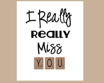 Miss You Card - Really Really Miss You Card - Long Distance Card - Thinking of You Card