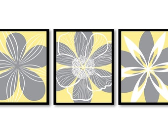 INSTANT DOWNLOAD Yellow Grey Gray White Flower Set of 3 Printable Abstract Art Print Wall Decor Modern Minimalist Bathroom Bedroom