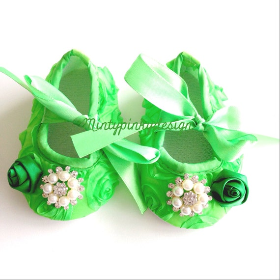 Baby satin Shoes Baby Flower shoes 0 3 6 9 12 months by