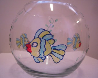 Hand painted glass fish bowl for Painted glass fish