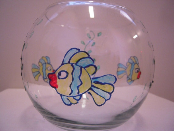 Items similar to hand painted glass fish bowl on etsy for Painted glass fish