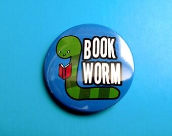 Cute Book Worm Pinback Button