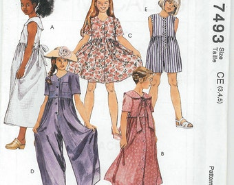 McCalls Sewing Patterns. Girls  Pattern Dress and Jumper Pattern in Five Views Size 3 4 5 Pattern# 7493 TK