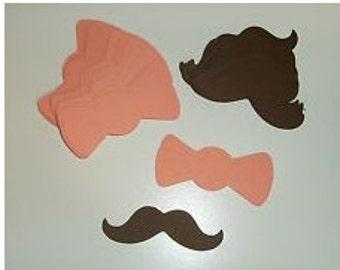 25 - 3 inch Mustache Moustache 25 Bows Gender Reveal Little Man Party (3011M)