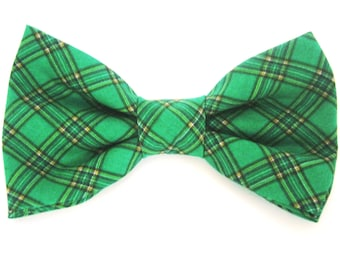 Dog Bow Tie - Small Plaid Double Stacked Green  Bowtie.