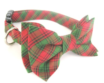 Dog Bow Tie Collar / Collar with Bow Tie / Removable Bow Tie and Collar / Christmas Collar