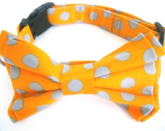 Dog Bow Tie Collar /Removable Orange Polka Dot Bow Tie