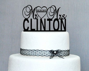 Personalized Mr & Mrs Wedding Cake Topper, Anniversary Cake Topper Customize with your name