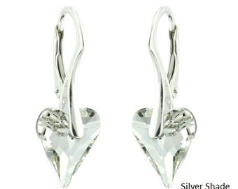 925 Sterling Silver Faceted Wild Heart Swarovski Crystal Leverback Earrings