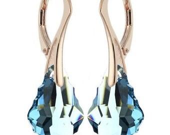 14k Rose Gold Over 925 Sterling Silver Baroque Swarovski Leverback Earrings