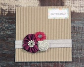Baby/Little Girls 3 Flower Handmade Headband, Purple Pink & Grey with Silver Band and Sparkle Detail
