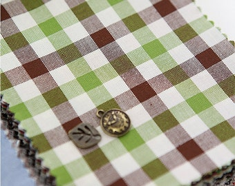 Cotton Fabric Plaid Green Brown By The Yard