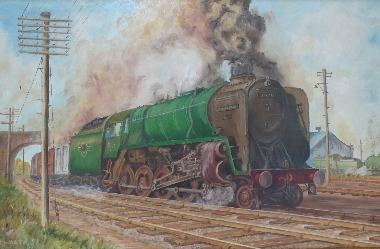 Vintage Framed Oil Painting Steam Train Evening Star Gwr