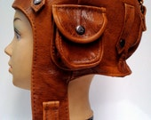 WWII Vintage style Handmade Genuine Leather Pilot  ,Aviator ,Motorcycle Helmet Hat Cap M size