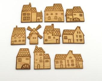 10 Laser cut miniature wooden houses