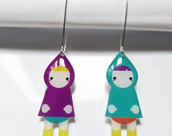 Earring little Riding Hood red black, blue and pink