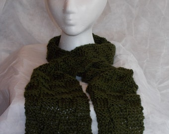 Green Hand Knitted Scarf, Basketweave Pattern, Medium Length, Fun Fashion Statement, Warm and Soft, Winter Accessory, Women