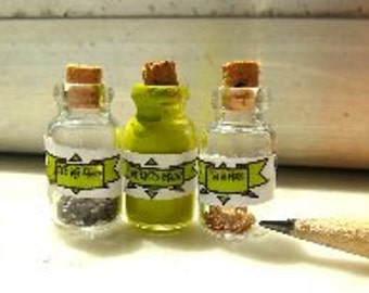 Witches Brew, Eye of Knute, Toe of Frog dollhouse miniatures all with cork stoppers.