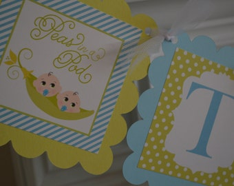 Sweet Peas - Two Peas In A Pod Baby Shower Banner - Twins - Twins Baby Shower Banner - Lime Green and Blue - Party Packs Available