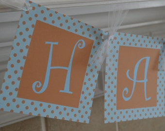 Polka Dot Birthday Banner - Blue and Brown Polka Dots - Polka Dot Party Banner - It's Fun to Be One - Happy Birthday Banner - ANY COLOR