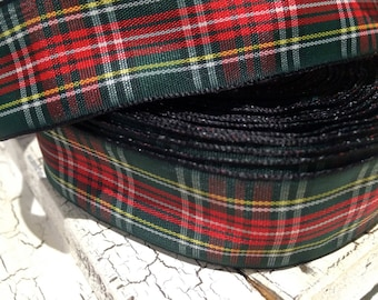 "1"" CHRISTMAS PLAID Green and Red POLYESTER Ribbon sold by the yard"