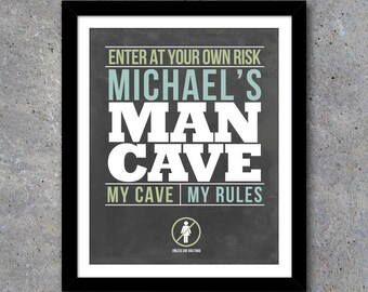 Man Cave Sign – Personalized Printable Modern Wall Art With Your Name and Colors of Your Choice! – Great Father's Day gift or Birthday gift!
