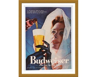 "1957 Budweiser Bud Lager Beer Color Print AD / Anheuser Busch / 9"" x 13"" / Original Advertisement / Buy 2 ads Get 1 FREE"